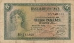 monedas de Europa - España -  Alegoría-Certificado de plata E/1935