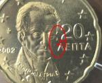 monedas de Europa - Grecia -  GRECIA 20 cent. oreja incompleta s/c