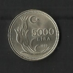 monedas de Asia - Turquía -  5.000 Lira./ reverso.