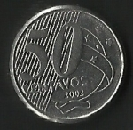 monedas de America - Brasil -  CINCUENTA CENTAVOS BRASIL (FRONTAL)
