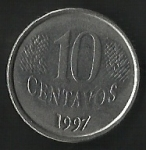 monedas de America - Brasil -  DIEZ CENTAVOS BRASIL (FRONTAL)