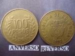 monedas de America - Colombia -  100,oo Pesos (Anv)- Rep. de Colombia, Escudo de Armas (rev.)