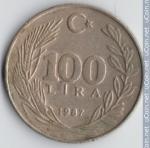 monedas de Asia - Turquía -  100 Liras