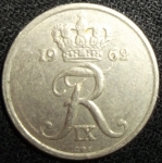 monedas de Europa - Dinamarca -  1962 (Anverso)