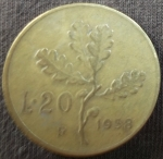monedas de Europa - Italia -  1958 (Reverso)