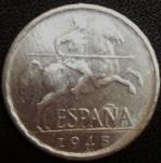 monedas de Europa - España -  1945 (Anverso)