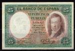 monedas de Europa - España -  Anverso de billete de 25 pesetas del Banco de España