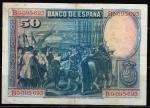 monedas de Europa - España -  Reverso de billete de 50 pesetas del Banco de España