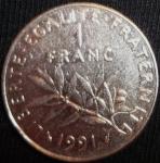 monedas de Europa - Francia -  1991 (Reverso)