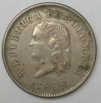 monedas de America - Colombia -  1888 - 5 centavos