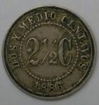 monedas de America - Colombia -  1886 - 2 2/5 centavo