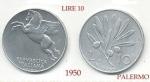 monedas de Europa - Italia -  10 Lire   ITALIA  Palermo  1950