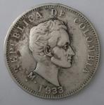 monedas de America - Colombia -  1933 plata 50 centavos