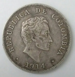 monedas de America - Colombia -  1914 plata 50 centavos