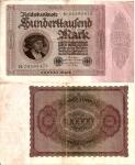 monedas de Europa - Alemania -  Alemania 100000 Marcos  Feb 1, 1923 P-83a/1