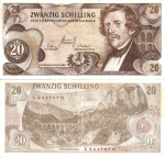 monedas de : Europa : Austria : Austria: 20 Schilling  Jun 02,1967 P-142a.1