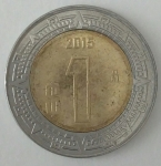 monedas de America - México -  2015 un peso