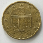 monedas de : Europa : Italia : 2002 - 20 centro Euro