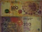 monedas de : America : Argentina : Nuevo billete 100 pesos argentinos Eva Perón fuera de circulación por errores de diseño- Baja numera