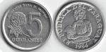monedas de America - Paraguay -  5 guaraníes
